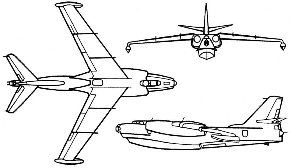 Схема гидросамолета Бе-10