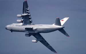 Первое появление Ан-124 (CCCP-82007) в США. Aerospace America Airshow, Сан-Диего, май 1988 г.