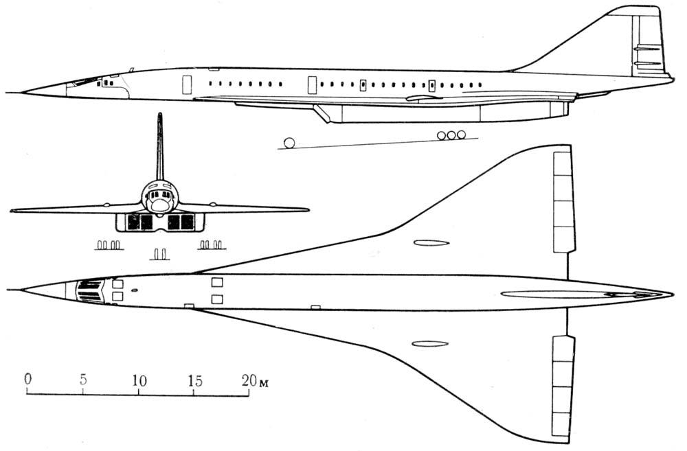 Схема Ту-144 (опытный)